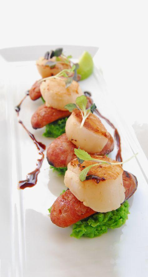 Scallops & Chorizo. Delish!  #photography, #food