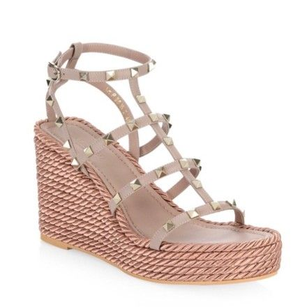 9f15b95bf43 Poudre Nude Torchon Rockstud Leather Sandal Wedges | Fashion Frenzy ...