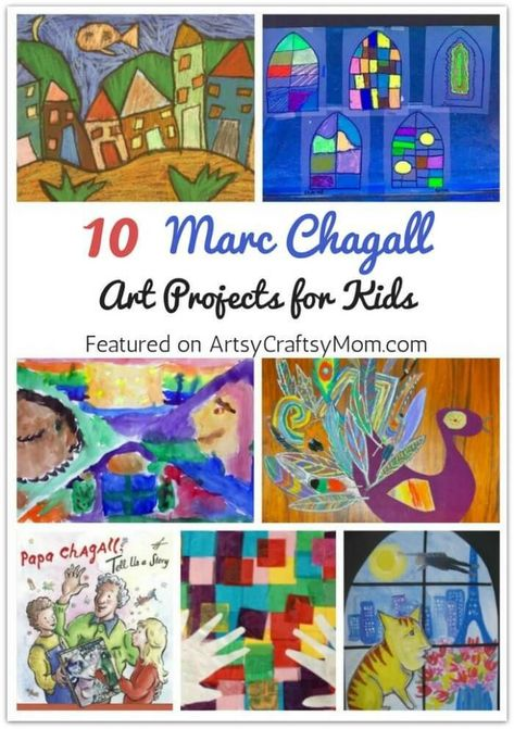 Marc Chagall believed in painting from the heart and that's what he did! Learn more about this amazing artist with 10 Marc Chagall Art Projects for Kids. # artist inspired art for kids marc chagall 10 Marc Chagall Art Projects for Kids Kids Art Class, Art Lessons For Kids, Art Lessons Elementary, Projects For Kids, Art For Kids, Elementary Schools, Marc Chagall, Artist Project, Ecole Art