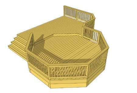 This 2 Level Deck Features A Recessed 14 X 14 True Octagon Deck A Wide Staircase Follows The Angle Of The Oct Deck Plans Diy Deck Design Deck Building Plans