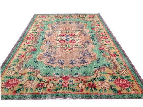 9 3 X 5 7 281 X 170 Cm Turkish Vintage Salmon Teal Red Rose Pink Flower Teal Green Salmon Ushak Overdyed Hand Rugs On Carpet Carpet Handmade Carpet