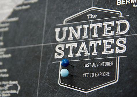 USA Travel Map Pin Board w/Push Pins - Modern Slate | Conquest Maps ...