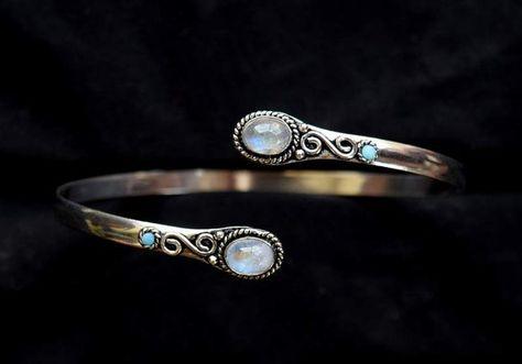 Bracelet Pierre de lune arc-en-ciel brassard par armletpalace