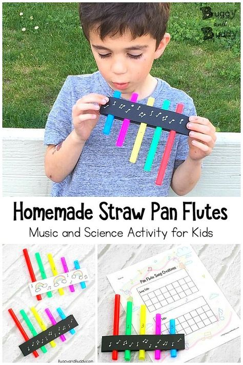 STEM / STEAM for Kids: Create your own straw pan flutes! A fun craft you can use to explore the science of sound and music. Children can create their own songs and record them on the free song recording sheet printable! - Kids education and learning acts Preschool Music Activities, Steam Activities, Fun Activities For Kids, Indoor Team Building Activities, Stem Projects For Kids, Children Projects, Cutting Activities, Art Projects, Music For Kids