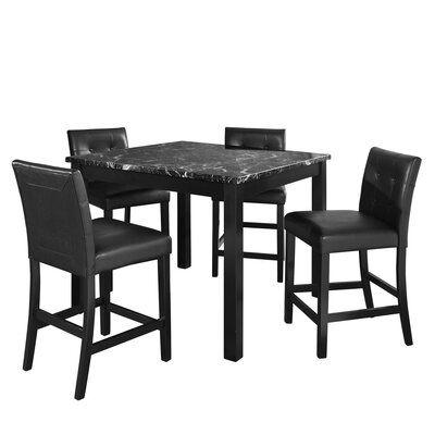 Kkl9c Flygjrcm 5 piece counter height dining set black