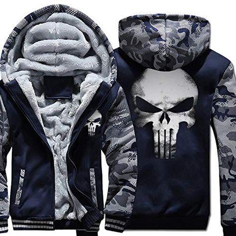 Sweat à capuche sweat polaire doublé zippé chaud manteau d/'hiver Veste à manches longues L