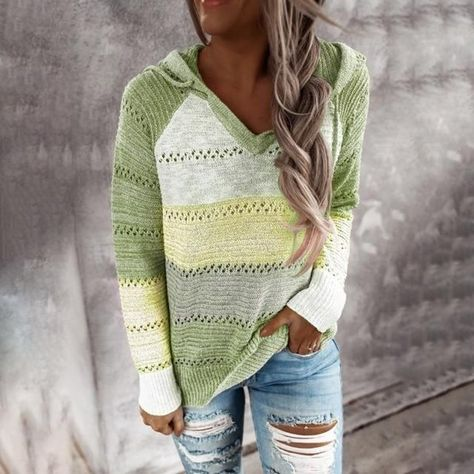 Patchwork Hooded Sweater Long Sleeve V-neck Knitted Sweater - M / yellow