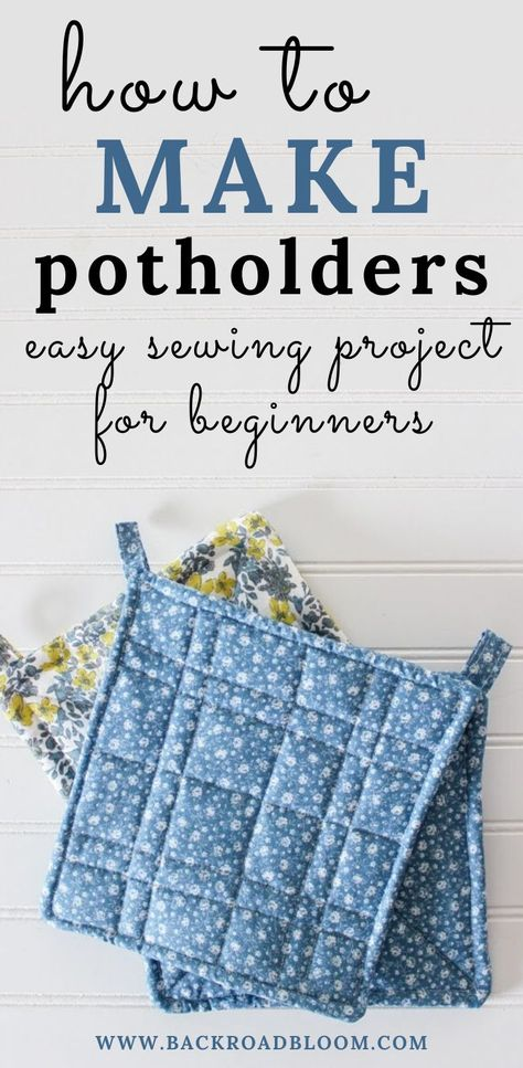 Looking for an easy beginner sewing project? Try out these DIY potholders! They're super cute and simple to make, and would make great filler gifts! Beginner Sewing Patterns, Sewing Tutorials, Sewing Crafts, Simple Sewing Patterns, Sewing Diy, Diy Gifts Sewing, Sew Gifts, Sewing To Sell, Sewing Rooms