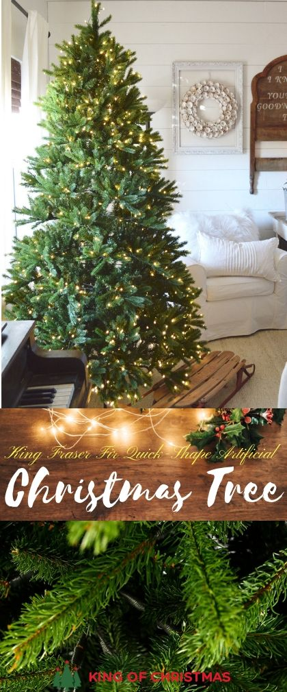 7 5 Foot King Fraser Fir Quick Shape Artificial Christmas Tree With 1000 Warm White Led Lights Power Pole King Of Christmas Christmas Tree Artificial Christmas Tree Green Christmas Tree