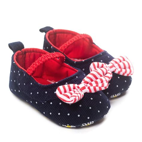 Fashion Baby Girl Dot Bow-knot Shoes Sneaker Anti-slip Soft Sole Toddler Shoes