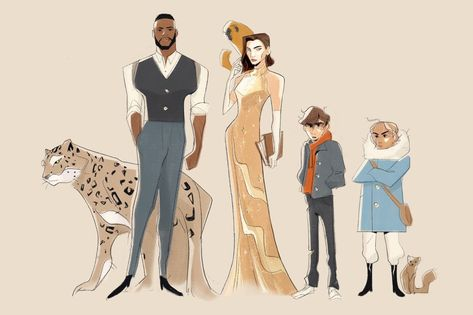 Every couple years I go through a big 'His dark materials' phase and I draw all the characters all over again so here have a Winston Duke-inspired Lord Asriel and Julianna Margulies as Mrs. Coulter