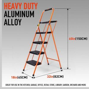 Horusdy 4 Step Ladder Non Slip Pedals Lightweight Folding Stool Folding Step Stool Step Stool Ladder
