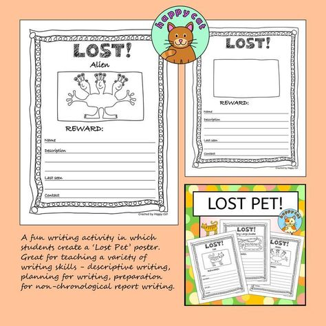 A fun writing activity in which students create a Lost Pet poster - lost pet poster