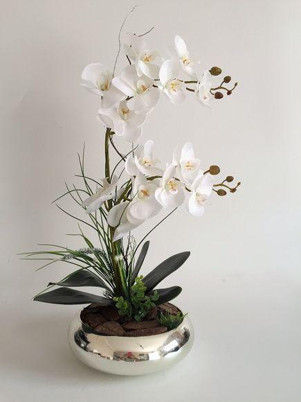 Arranjo De Orquidea Em Vaso De Vidro Espelhado Vaso De Vidro