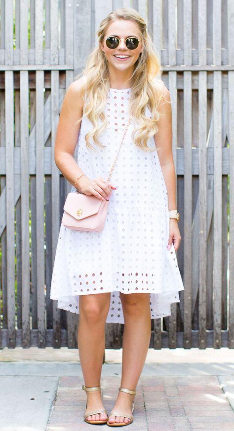 White Eyelet Dress – Living In Color Print