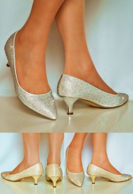 New Ladies Diamante Low Kitten Heel Gold Silver Party Court Shoes Pumps Size Wedding Shoes Low Heel