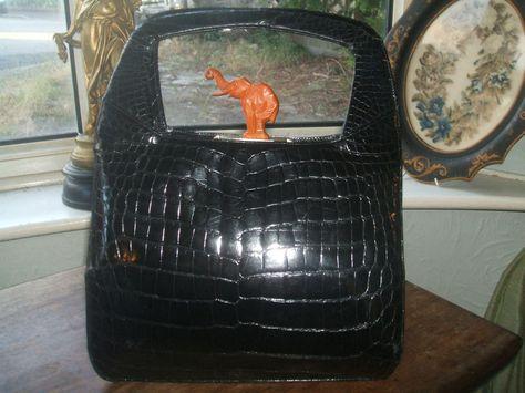 Amazing vintage real crocodile handbag with carved Bakelite elephant clasp
