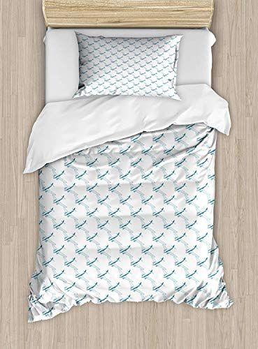 Maianne Vintage Airplane Twin Size Duvet Cover Set Retro Travel
