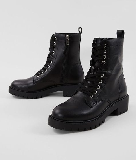 Steve Madden Guided Leather Combat Boot - Women's Source by thebuckle women shoes Shoes 2018, Black Combat Boots, Combat Boots Style, Leather Lace Up Boots, Black Lace Boots, Black Leather Shoes, Dress With Boots, Girls Shoes, Ladies Shoes