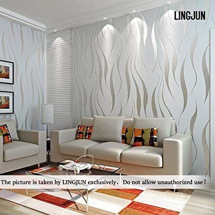 Lingjun Modern Minimalist Non Woven Water Plant Pattern 3d Flocking Embossed Wallpape Wallpaper Living Room 3d Wallpaper Living Room Living Room Wall Wallpaper