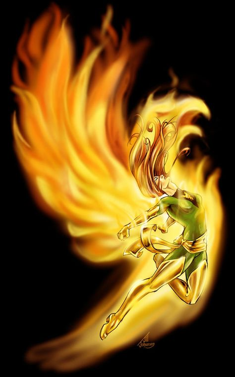 Jean Grey (Phoenix / Dark Phoenix) with the female form blacked out.