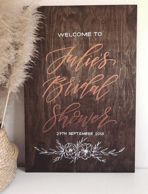 BRIDAL SHOWER Sign, Kitchen Tea Hens Party Wedding Engagement Wooden Welcome Sign With Flowers