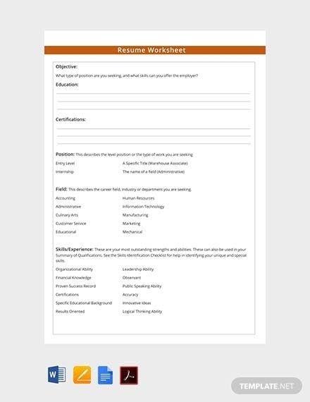 Free Resume Worksheet Template Pdf Word Doc Apple Worksheet Template Resume Design Template Resume Template Professional
