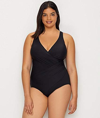 Miraclesuit Womens Plus Size Swimwear Solid Crossover V-Neckline Tummy Control One Piece Swimsuit