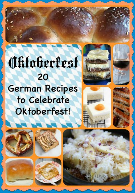 These 20 Oktoberfest Recipes offer both sweet and savory favorites. The German r… These 20 Oktoberfest Recipes offer both sweet and savory favorites. The German recipes will help you celebrate Autumn with a family dinner or blow-out bash! Oktoberfest Party, Oktoberfest Hairstyle, German Oktoberfest, Oktoberfest Recipes, German Recipes Dinner, German Food Recipes, French Recipes, Bavarian Recipes, German Desserts
