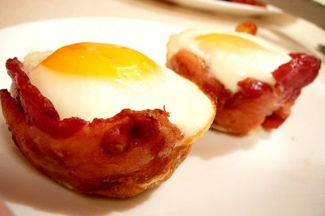 Bacon & egg cups!  Brilliant for a brunch party...