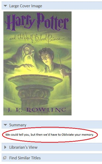 All the other HP books have normal summaries.