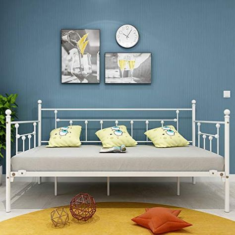 Metal Daybed Frame Twin Metal Slats Platform Base Box Spring Replacement Bed Sofa for Living Room Guest Room (Twin, White Sanded)