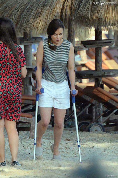 """Exclusif - Emilia Clarke sur le tournage du film """"Me before you"""" à Palma de Majorque le..."""