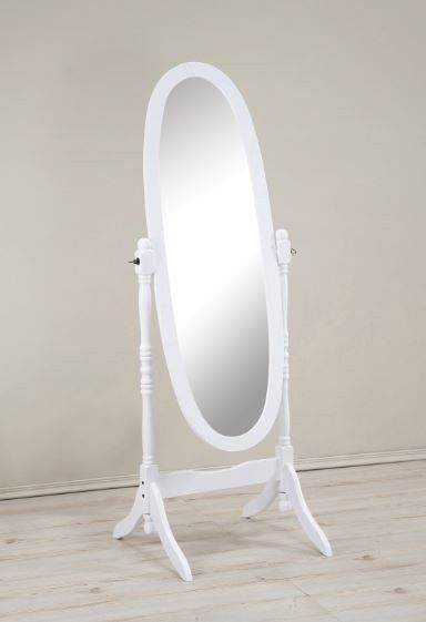 White Standing Mirror Large Body Oval Full Length Cheval Wooden