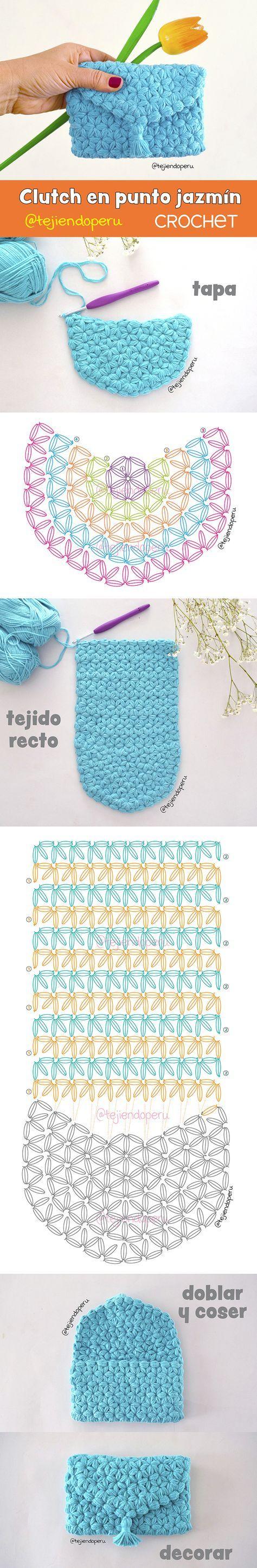 Clutch O Bolso Modelo Sobre Tejido A Crochet En Punto Jazmín Paso A Paso Incluye Video Di Bolsos De Ganchillo Tejidos A Crochet Monederos Tejidos A Crochet