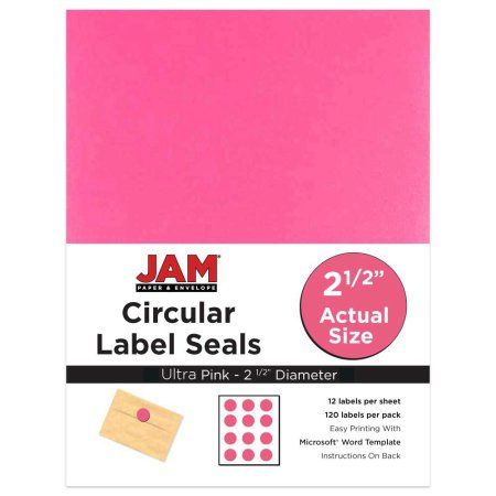 Jam paper 2 1 2 inch circle label sticker seals pulsar pink 120 pack circle labels label stickers and walmart