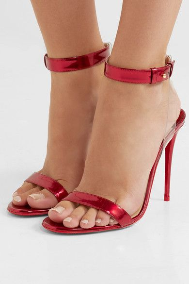Christian Louboutin Jonatina 100 Pvc Trimmed Mirrored Leather Sandals Ankle Strap Heels Heels Ankle Straps