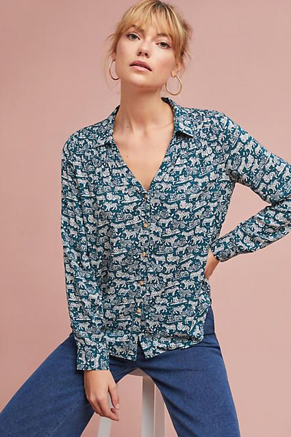 d08ff2666 Maeve Emory Printed Buttondown Top Shirt #anthrofave #anthrolove ...