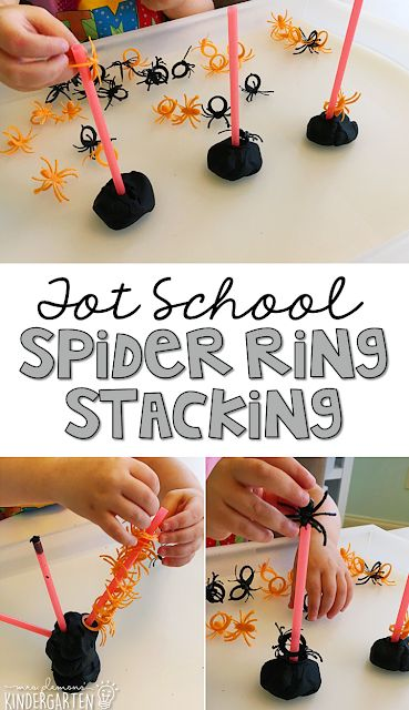 Tot School: Bats & Spiders Spider ring stacking is great fine motor practice with a spooky theme. Great for tot school, preschool, or even kindergarten! Autumn Activities, Toddler Activities, Halloween Preschool Activities, October Preschool Themes, Spider Art Preschool, Motor Activities, Preschool Ideas, Daycare Crafts, Teaching Ideas