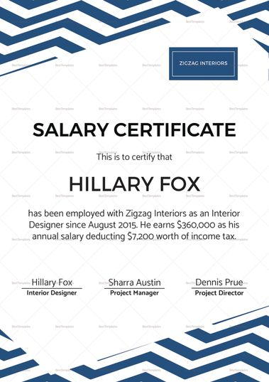 Simple Salary Certificate Template $12 Formats Included - ms word certificate template