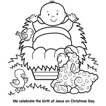 Jesus Is Born Coloring Pages Baby Jesus In A Manger Coloring Page  Household Helps  Pinterest .