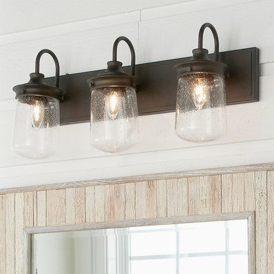 Jar Glass Seeded Vanity Light 3 Light Farmhouse Bathroom Light Vanity Lighting Ceiling Light Shades