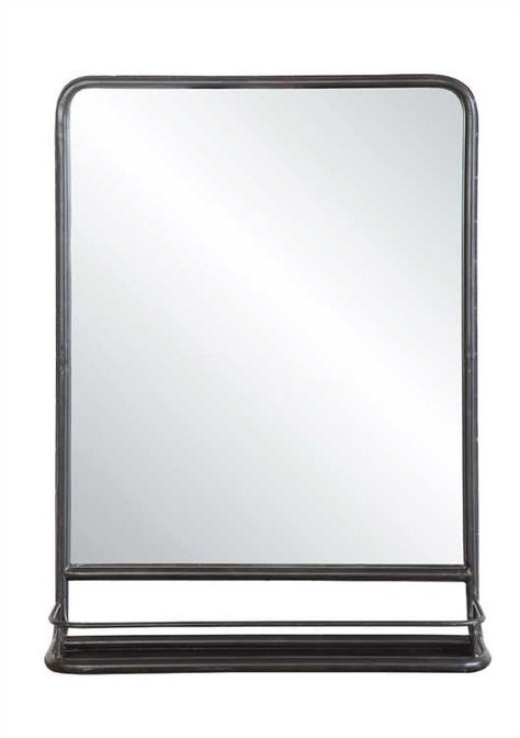 DETAILSBring classystyle to your home decor with this lovely metalmirror,featuring a shelf for keeping items and hence ideal forusing in bathrooms or powder roomsProduct:MirrorConstruction Material:MetalColor:BlackFeatures:RectangularShapeComes with shelf.Hanging Orientation: VerticalDimensions:19-1/2