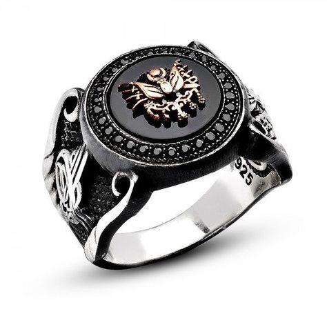 UNIQUE ! ONYX AND ZIRCON STONES 925K STERLING SILVER MEN'S RING   QUFESILVER - Sterling silver rings, wristbands, tasbeehs and many accessories with unique designs.Get FREE shipping on all orders to all over the world.