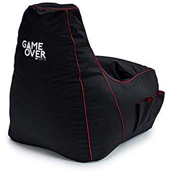 Loft 25 Game Over Electric Crimson Red Bean Bag Gaming Chair Large Bean Bag Chairs Red Bean Bag Garden Bean Bags