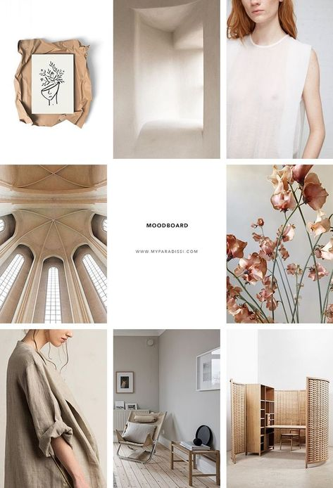 Inspiration moodboard in beige hues curated by Eleni Psyllaki for My Paradissi