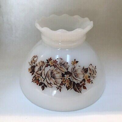 Vintage Brown Floral Milk Glass Ruffle Lamp Shade 8 Ebay Ruffle Lamp Shades Brown Floral Vintage Brown