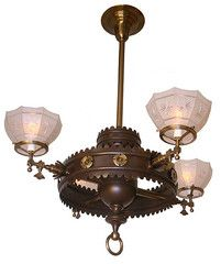 Antique Circa 1880 Exceptional 4 Light Gothic Influenced Converted Gas Fixture with Antique Star Cut Shades  sc 1 st  Pinterest & Antique Circa 1920 Bridge Arm Lamp with Aladdin Lamp Arm | Turn of ... azcodes.com