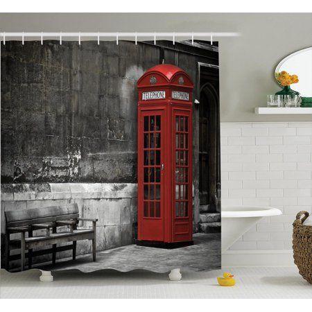 London Decor Shower Curtain Set Illustration Of London City With
