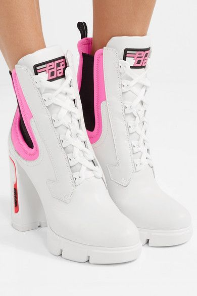 neoprene-trimmed leather ankle boots